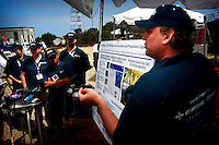 TRANSEC Sonar Test Basin, Point Loma, San Diego, CA, USA.  Friday, August 1 2008.  Gideon Prior of San Diego Ibotix Autonomous Underwater Vehicle Team gives a technical presentation about the teams vehicle to the judges at the Underseas Eleven.