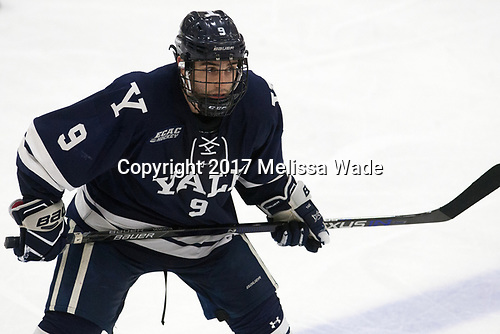 Robbie DeMontis (Yale - 9) - The Harvard University Crimson tied the visiting Yale University Bulldogs 1-1 on Saturday, January 21, 2017, at the Bright-Landry Hockey Center in Boston, Massachusetts.