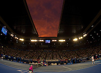 Sunset over Rod Laver Arena as Andy Murray (GBR) (5) against Roger Federer (SUI) (1) in the Final of the Mens Singles. Federer beat Murray 6-3 6-4 7-6..International Tennis - Australian Open Tennis - Sunday 31 Jan 2010 - Melbourne Park - Melbourne - Australia ..© Frey - AMN Images, 1st Floor, Barry House, 20-22 Worple Road, London, SW19 4DH.Tel - +44 20 8947 0100.mfrey@advantagemedianet.com