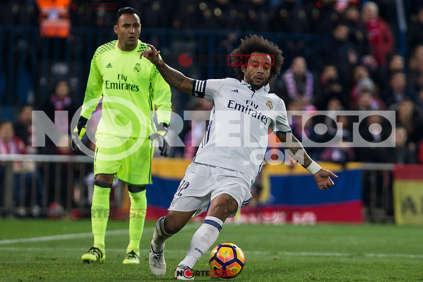Real Madrid's Keylor Navas Marcelo Vieira during the match of La Liga between Atletico de Madrid and Real Madrid at Vicente Calderon Stadium  in Madrid , Spain. November 19, 2016. (ALTERPHOTOS/Rodrigo Jimenez) /NORTEPHOTO.COM
