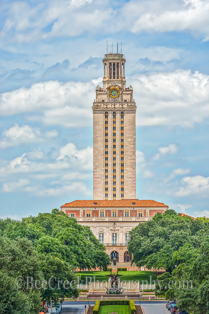 This is a vertical capture of the UT Tower at the University of Texas in Austin. The tower is a iconic landmark in the city and has been here sice 1935.  It was orginally built to be a library but was only used for that for a short while it is now the administration building on campus.  Many have heard to the 1966 attack from the tower as Charles Whitman proceeded to kill many people from the tower before he was stopped.
