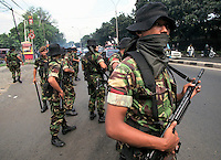 Following the fall of president Suharto, military in the streets of Jakarta, Indonesia.