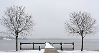 Snow on a pier on White Rock Lake in Dallas, Texas during a rare winter snowfall in February 2010.