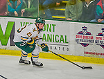 21 February 2015:  University of Vermont Catamount Forward Rob Darrar, a Freshman from Monroe Township, NJ, in second period action against the Merrimack College Warriors at Gutterson Fieldhouse in Burlington, Vermont. The teams played to a scoreless tie as the Cats wrapped up their Hockey East regular home season. Mandatory Credit: Ed Wolfstein Photo *** RAW (NEF) Image File Available ***