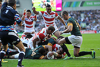 Michael Leitch scores a try for Japan. Rugby World Cup Pool B match between South Africa and Japan on September 19, 2015 at the Brighton Community Stadium in Brighton, England. Photo by: Patrick Khachfe / Onside Images