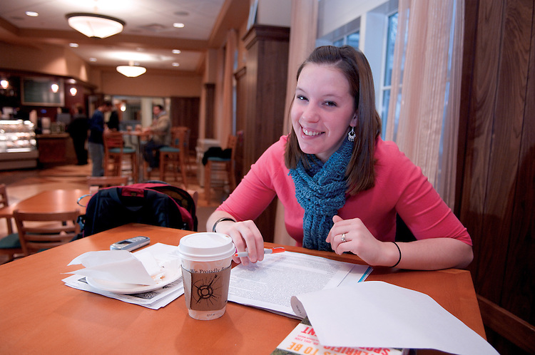 Day in the life of Baker Center...Nadia Kogeler, Chai Tea, Graduate Student Recd Studies, works on Presentation