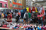 Petticoat Lane Sunday fashion and clothing market. Middlesex Street Shoreditch, east London UK