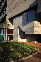 Concrete wall of the Maison du Bresil or Brazil House, designed by Le Corbusier (Charles-Edouard Jeanneret, 1887-1965) and Lucio Costa, 1902-1998, and inaugurated in 1954, in the Cite Internationale Universitaire de Paris, in the 14th arrondissement of Paris, France. The building is listed as a historic monument. The CIUP or Cite U was founded in 1925 after the First World War by Andre Honnorat and Emile Deutsch de la Meurthe to create a place of cooperation and peace amongst students and researchers from around the world. It consists of 5,800 rooms in 40 residences, accepting another 12,000 student residents each year. Picture by Manuel Cohen. L'autorisation de reproduire cette œuvre doit etre demandee aupres de l'ADAGP/Permission to reproduce this work of art must be obtained from DACS.