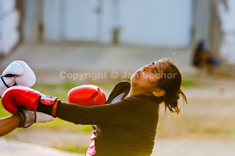 Boxing school for girls in Callao, Peru