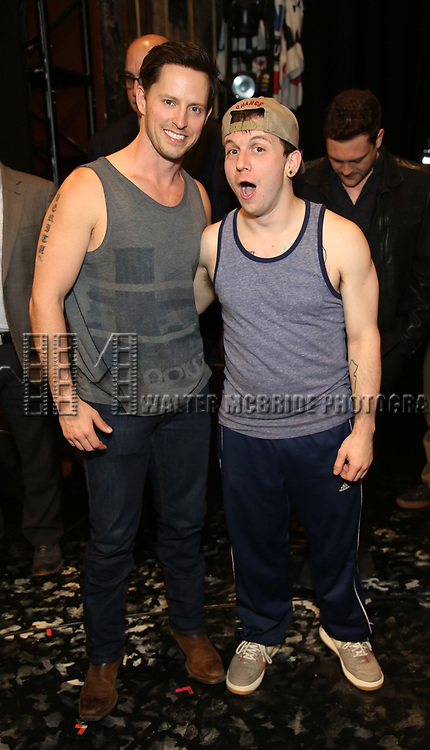 Andrew Call and Gerard Canonico during the Actors' Equity Opening Night Gypsy Robe Ceremony honoring Joseph Medeiros for 'Groundhog Day' at the August Wilson Theatre on April 17, 2017 in New York City