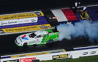 Apr. 28, 2012; Baytown, TX, USA: NHRA funny car driver Jack Beckman during qualifying for the Spring Nationals at Royal Purple Raceway. Mandatory Credit: Mark J. Rebilas-