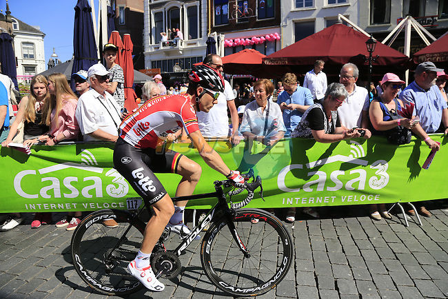 Maxime Monfort (BEL) Lotto-Soudal arrives at sign on before the start of Stage 3 of the 2016 Giro d'Italia running 190km from Nijmegen to Arnhem, The Nethrerlands. 8th May 2016.<br /> Picture: Eoin Clarke | Newsfile<br /> <br /> <br /> All photos usage must carry mandatory copyright credit (&copy; Newsfile | Eoin Clarke)
