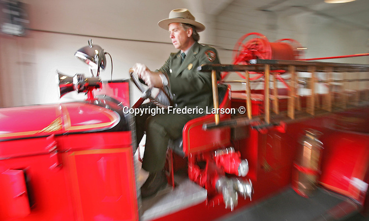Park Ranger John Cantwell on Alcatraz Island in San Francisco California drives a 1934 Diamond T fire truck that was completely restored by prisoners while living on Alcatraz.