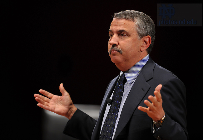 Thomas Friedman, Pulitzer Prize-winning columnist from The New York Times talks at the headlining event of the 2010 Notre Dame Forum: The Global Marketplace and the Common Good at the Leighton Concert Hall Nov. 3, 2010...Photo by Matt Cashore/University of Notre Dame