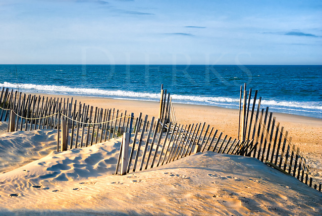 This beach and sand dunes view is just outside Nags Head, North Carolina, a good place for miles of very beautiful Atlantic Ocean beaches in the Outer Banks. They take great civic pride in keeping them that way, too, notice the erosion control fences.<br /> <br /> This is a very unusual image being that it is a sunset shot of the Atlantic taken on the east coast...and just how, you ask? The sun is setting behind the camera position rather than in front of it over the water. I enjoy how it gives the sand and fence a deeper glow from the natural yellow light, and how the light skims across the ripples in the sand.