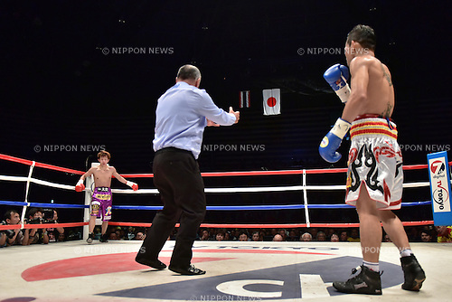 Ryoichi Taguchi (JPN), Kwanthai Sithmorseng (THA),<br /> MAY 6, 2015 - Boxing :<br /> Ryoichi Taguchi of Japan waits in the neutral corner after knocking down Kwanthai Sithmorseng of Thailand in the second round during the WBA light flyweight title bout at Ota-City General Gymnasium in Tokyo, Japan. (Photo by Hiroaki Yamaguchi/AFLO)