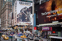 "A billboard for the ""Call of Duty: Advanced Warfare""  multiplayer videogame in Times Square in New York on Friday, November 7, 2014. Activision is reported to be receiving complaints that the multiplayer game is stalling with severe lag problems while played. (© Richard B. Levine)"