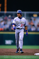 SAN FRANCISCO, CA - Mike Piazza of the Los Angeles Dodgers runs the bases during a game against the San Francisco Giants at Candlestick Park in San Francisco, California in 1996. (Photo by Brad Mangin)