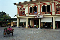 Restored early 20th-century wooden buildings and restaurant  in the Parque Historico, Guayaquil, Ecuador