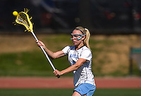 Laura Zimmerman (1) of North Carolina passes the ball during the ACC women's lacrosse tournament semifinals in College Park, MD.  North Carolina defeated Duke, 14-4.