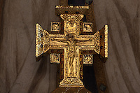 Golden cross, with the symbols of the four evangelists, before the fresco of the altar of the Virgin, 20th century, Nanterre Cathedral (Cathédrale Sainte-Geneviève-et-Saint-Maurice de Nanterre), 1924 - 1937, by architects Georges Pradelle and Yves-Marie Froidevaux, Nanterre, Hauts-de-Seine, France. Picture by Manuel Cohen