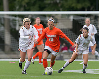 Newton, Massachusetts - October 18, 2015: NCAA Division I. University of Virginia (orange/white) defeated Boston College (white), 4-2, at Newton Campus Soccer Field.