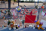 An impromptu memorial at the elementary school attended by shooting victim Christina Greene.  Greene, 9, was killed after receiving a gunshot wound to the chest in a mass shooting at a Pima County Safeway store that left six dead and [number] injured.  Greene, recently elected to student council was at the store to visit with her congresswoman, Gabrielle Giffords at one of Giffords 'Congress on the Corner' events...  Scenes from Tucson, Arizona in the days following a mass shooting that left six dead and [number] injured.  The shooter, identified as Jared Loughner, was captured at the scene and charged in federal court on January 9th, 2011.  Among the injured was democratic congresswoman Gabrielle Giffords.  The dead included a federal judge, a nine year-old girl, and several septaugenarians who had all come to see the congresswoman at one of her 'Congress on the Corner' events.