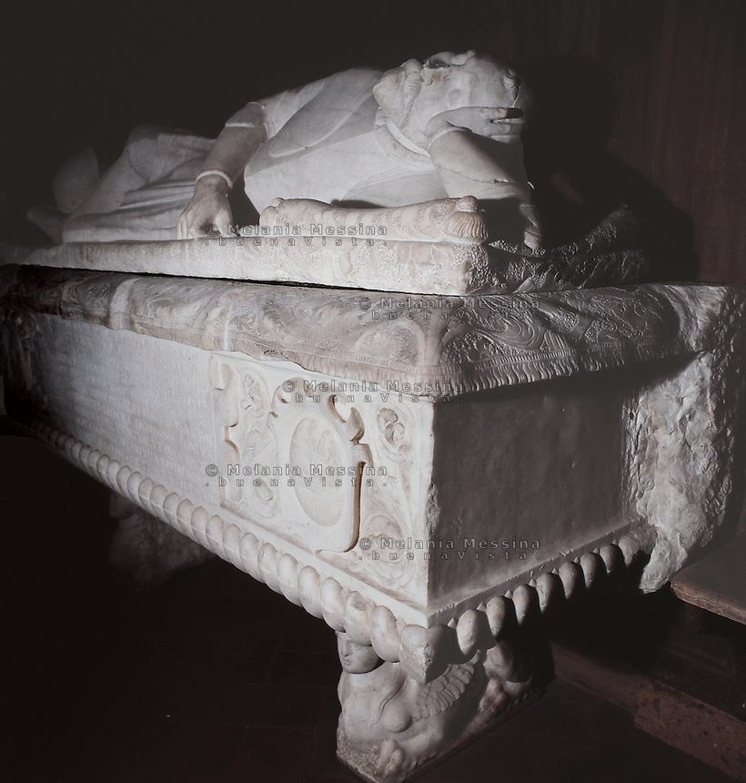 Palermo, Magione basilica,12th century, tomb of a teutonic knight.<br /> Palermo, basilica della Magione, XII sec, monumento funebre di un cavaliere teutonico.