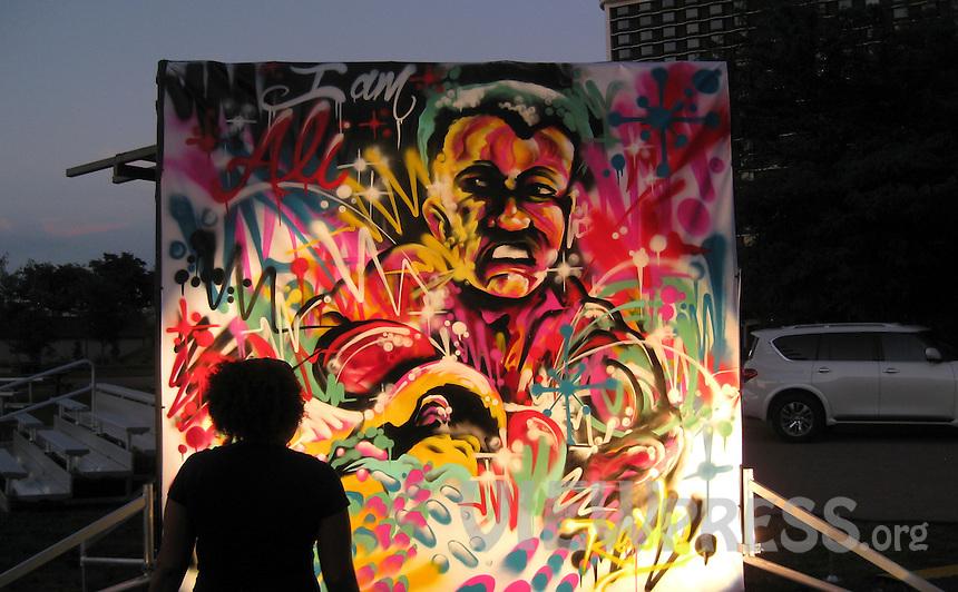 LOUISVILLE, KY - JUNE 10: Art work on memorial for Muhammad Ali it's seen outside the Muhammad Ali Center on June 8, 2016 in Louisville, Kentucky (Photo by VIEWpress/Teddy Blackburn)