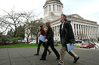 Animal advocates head to meet with their legislators during Humane Lobby Day in Olympia, Wash. on January 27, 2016. The event, held by HSUS, was attended by around 55 people who came out to learn about animal welfare issues and speak to legislative on their behalf.  (photo by Karen Ducey/ Animal News Northwest)
