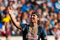 Jeff Parke (31) of the Philadelphia Union celebrates a goal. The New York Red Bulls defeated the Philadelphia Union 2-1 during a Major League Soccer (MLS) match at Red Bull Arena in Harrison, NJ, on March 30, 2013.