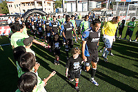 San Jose Earthquakes' and Seattle Sounders starting XI walk on the field before the game at Buck Shaw Stadium in Santa Clara, California on July 31st, 2010.   Seattle Sounders defeated San Jose Earthquakes, 1-0.