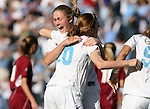 North Carolina's Heather O'Reilly (20) is hugged by a teammate after her goal in the 46th minute tied the game 1-1 on Saturday, November 25th, 2006 at Fetzer Field in Chapel Hill, North Carolina. The University of North Carolina Tarheels defeated the Texas A&M Aggies 3-2 in an NCAA Division I Women's Soccer Championship quarterfinal game.