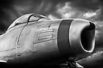 North American F-86A Sabre aeroplane during storm