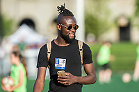 Boston, MA - Friday May 19, 2017: Kei Kamara of the New England Revolution attends a regular season National Women's Soccer League (NWSL) match between the Boston Breakers and the Portland Thorns FC at Jordan Field.