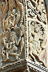 "13th century Medieval Romanesque Sculptures from the facade of St Mark's Basilica, Venice, depicting ""Lust"" and Samson killing the lion cubs."