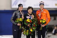SPEEDSKATING: CALGARY: Olympic Oval, 26-02-2017, ISU World Sprint Championships, Overall Podium Ladies, Heather Bergsma (USA), Nao Kodaira (JPN), Jorien ter Mors (NED), ©photo Martin de Jong