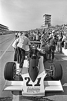 INDIANAPOLIS, IN - MAY 29: Al Unser prepares to drive his Parnelli VPJ6B 001/Cosworth TC during practice for the Indianapolis 500 at the Indianapolis Motor Speedway in Indianapolis, Indiana, on May 29, 1977.