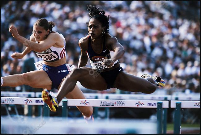 100m hurdles, Gail Devers (USA) and Angie Thorp (UK). Summer Olympics, Atlanta, Georgia, USA 1996