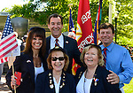 Merrick, New York, USA. 27th May 2013. Top row, L-R, TOM SUOZZI, former Nassau County Supervisor now running again for that position, and Nassau County Legislator DAVE DENENBERG, and bottom row, L-R, Merrick Post 1282 American Legion Auxiliary members MARGARET BIEGELMAN, SHARON WILLIAMS, and FLORENCE HOFFMAN, are at the Annual Memorial Day Parade and Ceremony 2013 at Merrick Veteran Memorial Park.