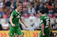 Fussball  1. Bundesliga  Saison 2013/2014  8. Spieltag VfB Stuttgart - SV Werder Bremen     05.10.2013 JUBEL Werder Bremen; Torschuetze zum 1-1 Ausgleich; Nils Petersen (li) und Zlatko Junuzovic