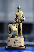 Sept. 30, 2012; Madison, IL, USA: Detailed view of the best appearing car trophy (Wally) won by NHRA pro mod driver Mike Janis during the Midwest Nationals at Gateway Motorsports Park. Mandatory Credit: Mark J. Rebilas-