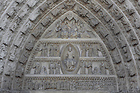 Gothic Tympanum above North Door, Avila Cathedral, 12th-14th centuries, Avila, Castile and Leon, Spain. Begun, 1095, in Romanesque style with fortifications, the style later switched to Gothic. Picture by Manuel Cohen