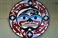 Circular West coast first nations painting, Granville Island, Vancouver, BC, Canada
