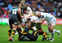 Alec Hepburn of Exeter Chiefs takes on the Wasps defence. European Rugby Champions Cup quarter final, between Wasps and Exeter Chiefs on April 9, 2016 at the Ricoh Arena in Coventry, England. Photo by: Patrick Khachfe / JMP