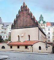 Old New Synagogue, completed 1270 in the Gothic style and Europe's oldest active synagogue, in the Josefov or Jewish Quarter of Prague, Czech Republic. The historic centre of Prague was declared a UNESCO World Heritage Site in 1992. Picture by Manuel Cohen
