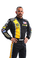 Feb 8, 2017; Pomona, CA, USA; NHRA top fuel driver Tony Schumacher poses for a portrait during media day at Auto Club Raceway at Pomona. Mandatory Credit: Mark J. Rebilas-USA TODAY Sports