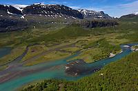 The headwater lands of Vietasätno river, Stora Sjöfallet National Park, Laponia UNESCO World Heritage Site, Greater Laponia rewilding area, Lapland, Norrbotten, Sweden