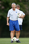 19 August 2014: Duke assistant coach Michael Brady. The Duke University Blue Devils hosted the Radford University Highlanders at Koskinen Stadium in Durham, NC in a 2014 NCAA Division I Men's Soccer preseason match.