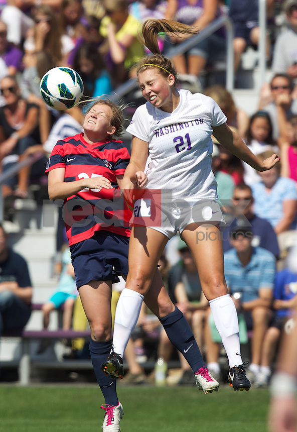 The University of Washington women's soccer team hosts Fresno State University at Husky Soccer Stadium on the UW campus in Seattle on Sunday September 2, 2012. (Photo by Stephen Brashear /Red Box Pictures)